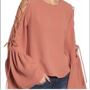 WAYF Nordstrom laced bow sleeve top